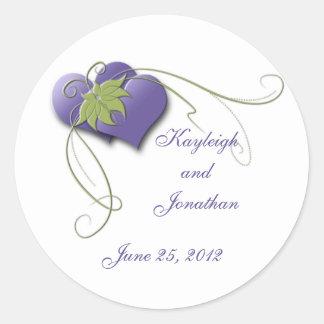 Purple Hearts Green Swirls Save the Date Sticker