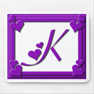 Purple Hearts Monogram K Mouse Pad