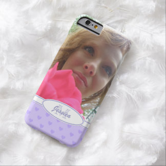 Purple Hearts: Monogram: Picture Barely There iPhone 6 Case