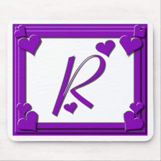 Purple Hearts Monogram R Mouse Pad
