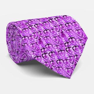 Purple hearts neck tie