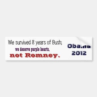 Purple hearts, not Romney Bumper Sticker