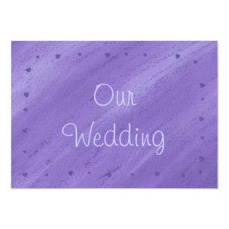 Purple Hearts on Blended Purple Wedding Invitation