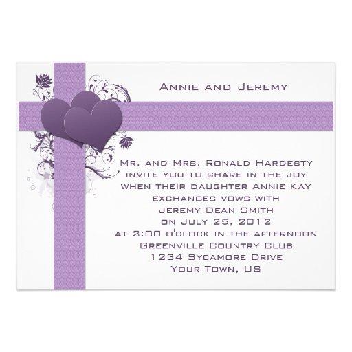 Purple Hearts on Damask Stripes Wedding Invitation