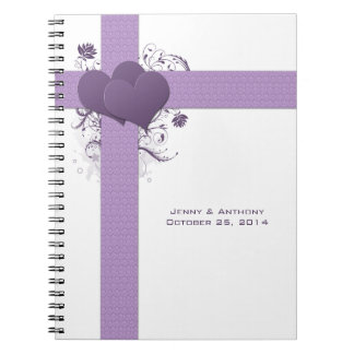 Purple Hearts on Damask Swirls Wedding Guest Book Note Book