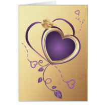 purple hearts on gold ,valentine's,love card