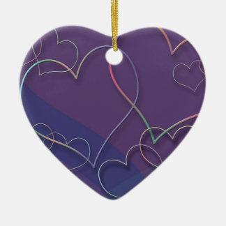 Purple Hearts Pattern Ceramic Ornaments