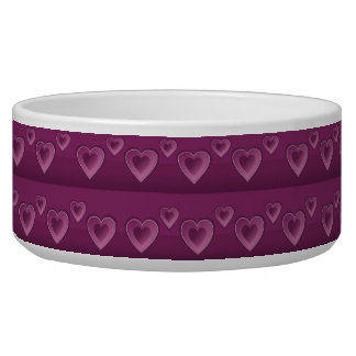 Purple Hearts Pet Bowl