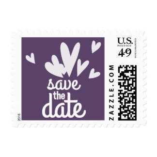 Purple Hearts Save the Date Postage