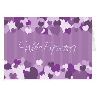 Purple Hearts We are Expecting Announcement Card