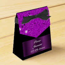 Purple Hearts wedding Favor Box