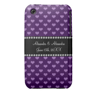 Purple hearts wedding favors Case-Mate iPhone 3 case