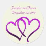 Purple Hearts Wedding Sticker