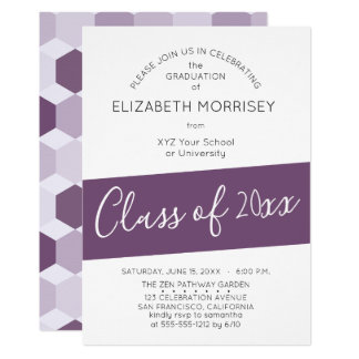 Purple Hectagon Geometric Graduation Party Card