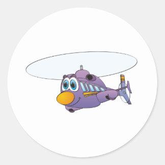 Purple Helicopter Cartoon Classic Round Sticker