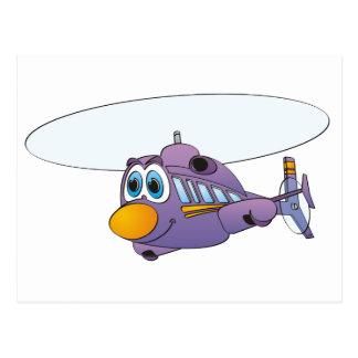 Purple Helicopter Cartoon Postcard