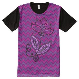 Purple Henna Flower on Chevrons All-Over-Print T-Shirt