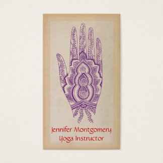 Purple Henna Hand Yoga Instructor Business Card