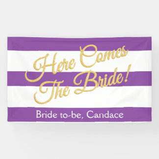 Purple, Here Comes The Bride, Bridal Shower Banner