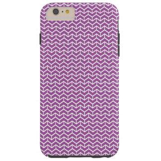 Purple Herringbone Bricks Tough iPhone 6 Plus Case