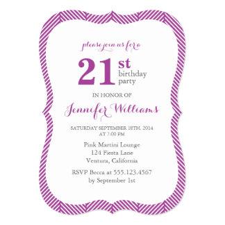 Purple Herringbone Pattern Birthday Party Card