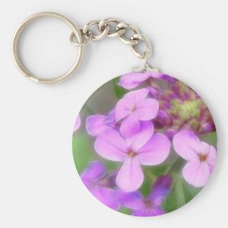 Purple Hesperis matronalis Flowers Keychain