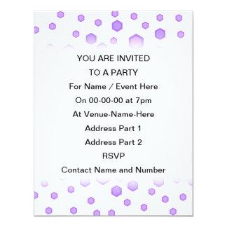 "Purple Hexagons. 4.25"" X 5.5"" Invitation Card"