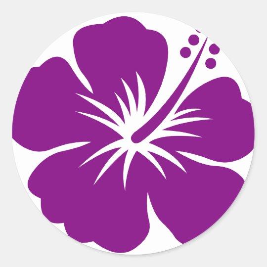 Purple hibiscus aloha flower classic round sticker