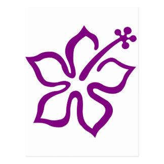 Purple hibiscus aloha flower D Postcard