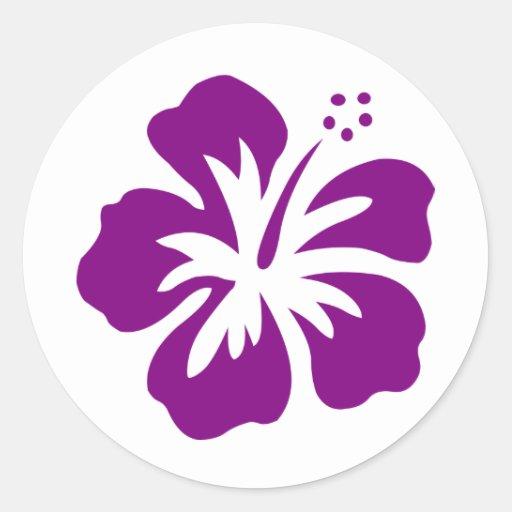 Purple hibiscus aloha flower E Round Stickers