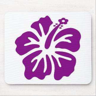 Purple hibiscus aloha flower mouse pad