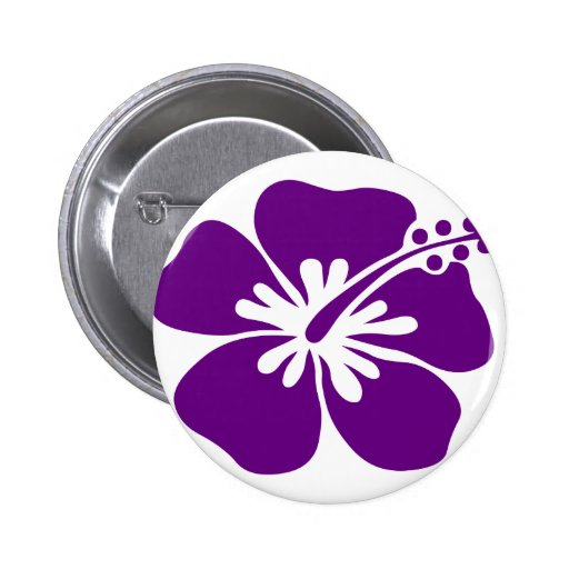 purple hibiscus aloha flower pinback button