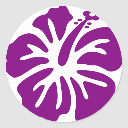 Purple hibiscus aloha flower round sticker