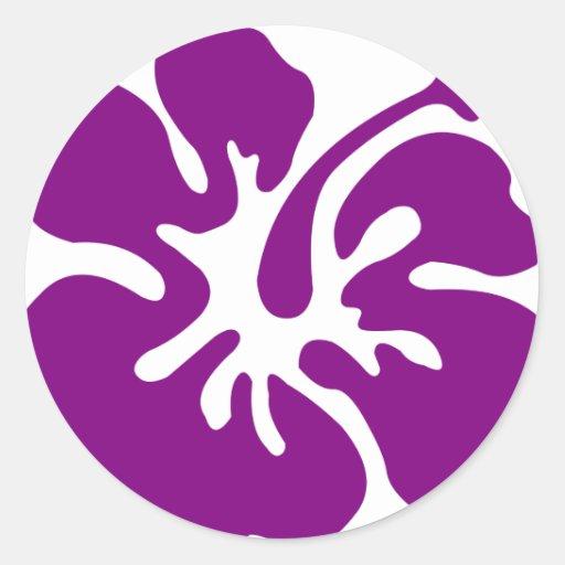 Purple hibiscus aloha flower sticker