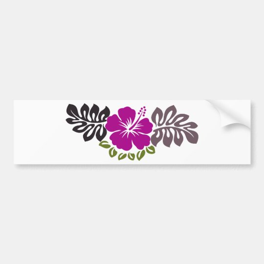 Purple hibiscus and leaves bumper sticker