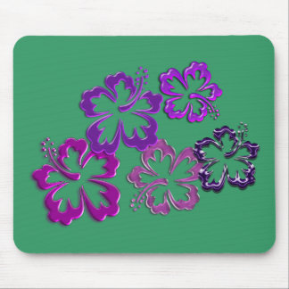 Purple Hibiscus Blossoms Mouse Pad