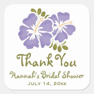 Purple Hibiscus Bridal Shower Favor Stickers Label