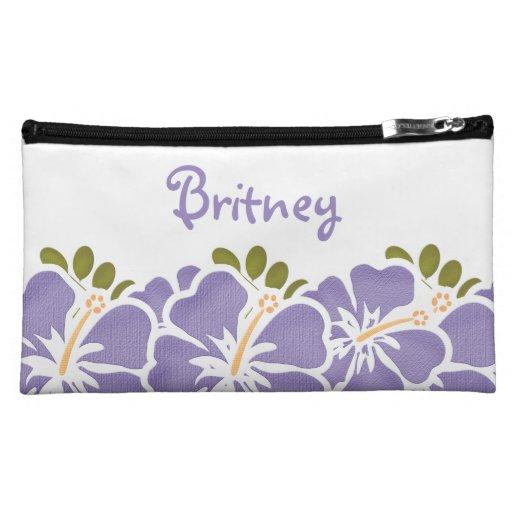 Purple Hibiscus Cosmetic Bag