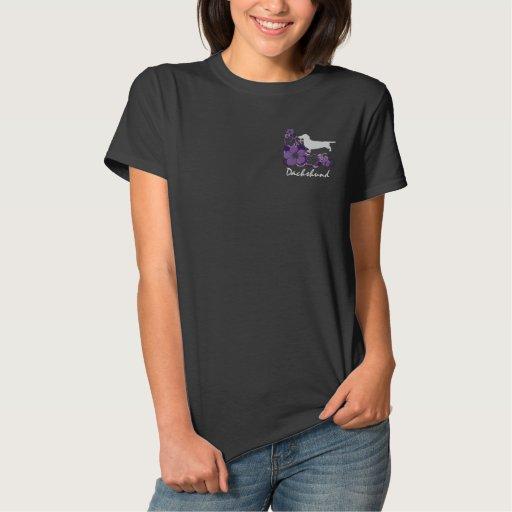 Purple Hibiscus Dachshund Embroidered Shirt