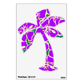 Purple Hibiscus Floral Tropical Luau Palm Tree Wall Skins