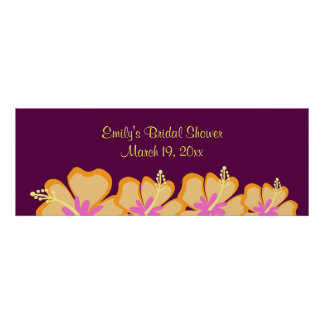 Purple Hibiscus Flower Customizable Banner Poster