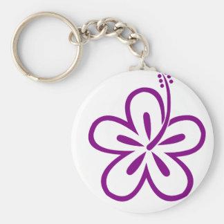 Purple hibiscus flower keychain