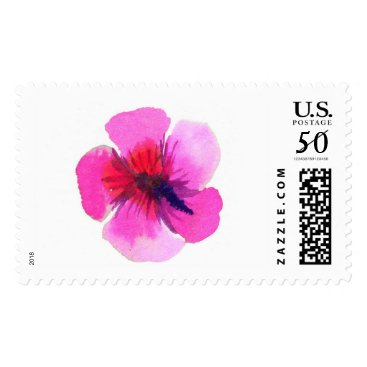 Hawaiian Themed Purple Hibiscus Flower Watercolor Stamps