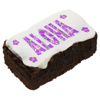 Purple Hibiscus Flowers Aloha Hawaiian Luau Brownie