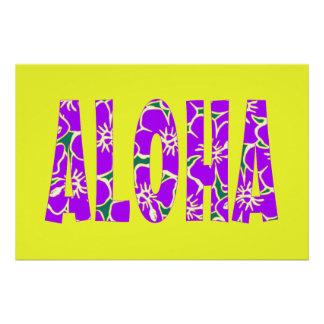 Purple Hibiscus Flowers Hawaiian Aloha Luau Party Poster