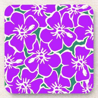 Purple Hibiscus Flowers Tropical Hawaiian Luau Drink Coaster