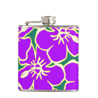 Purple Hibiscus Flowers Tropical Hawaiian Luau Flask