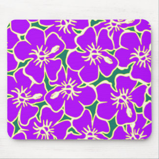 Purple Hibiscus Flowers Tropical Hawaiian Luau Mouse Pad