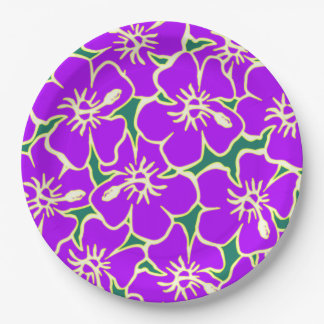Purple Hibiscus Flowers Tropical Hawaiian Luau Paper Plate
