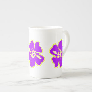 Purple Hibiscus Flowers Tropical Hawaiian Luau Tea Cup